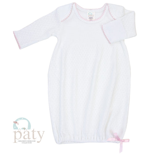 Paty|Long Sleeve Lap Shoulder-White and Pink