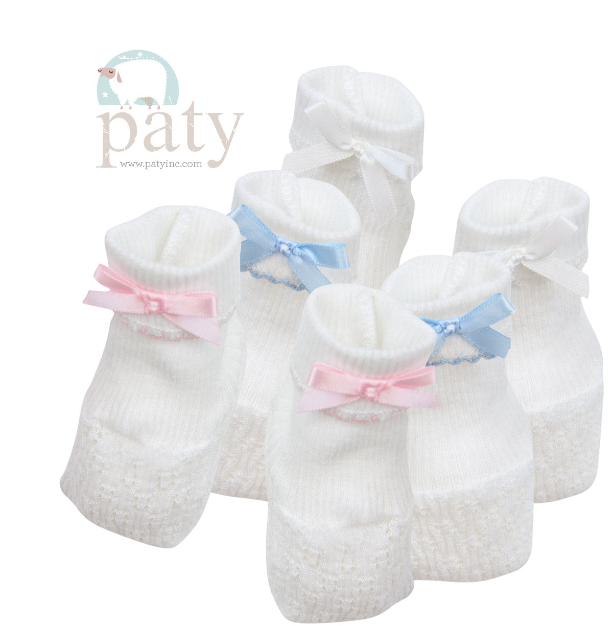 Paty|Booties with White Bow Accent