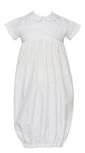 Petit Bebe|White Poplin Smocked Infant Gown