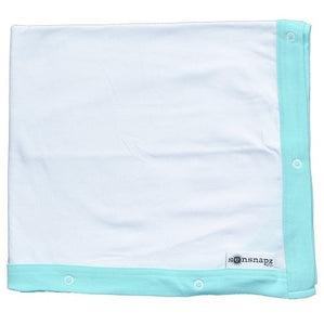 "<p>This ""do it all"" sun cover serves as a stylish nursing scarf, a soft machine washable blanket, car seat canopy and a wind & privacy shield.  Provides UPF50+ sun protection. Made in the USA.<br>- 30'' x 50''<span> </span><br>White cotton blanket with aqua binding and 8 pairs of snaps.</p> <p>92% cotton / 8% spandex<span> </span><br>Machine wash; tumble dry</p>"