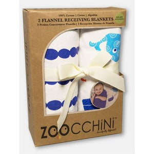 Zoocchini|2 PACK 100% COTTON CANDY RECEIVING BLANKETS - WILLY THE WHALE