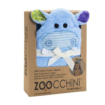 Zoocchini|BABY SNOW TERRY HOODED BATH TOWEL - HENRY THE HIPPO