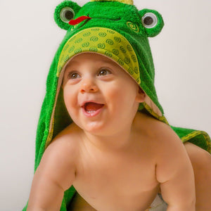 Zoocchini| Baby Snow Terry Hooded Towel-Flippy the Frog