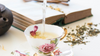 pouring botanical tisane into teacup