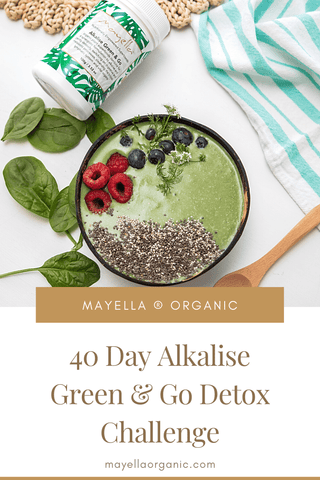 pinterest image of a green smoothie bowl next to a container of alkalise green and go