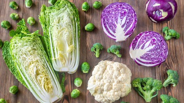 broccoli, cauliflower, brussels sprouts and cabbage