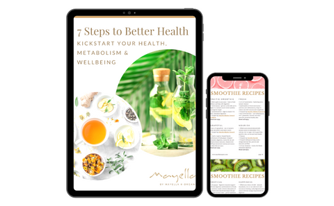 iPhone and iPad with a preview of the ebook 7 Steps to Better Health