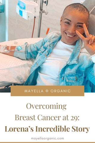Pinterest image of Lorena smiling in hospital receiving chemotherapy