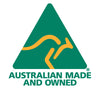 australian made and owned logo consisting of a green triangle with the outline of a gold kangaroo inside