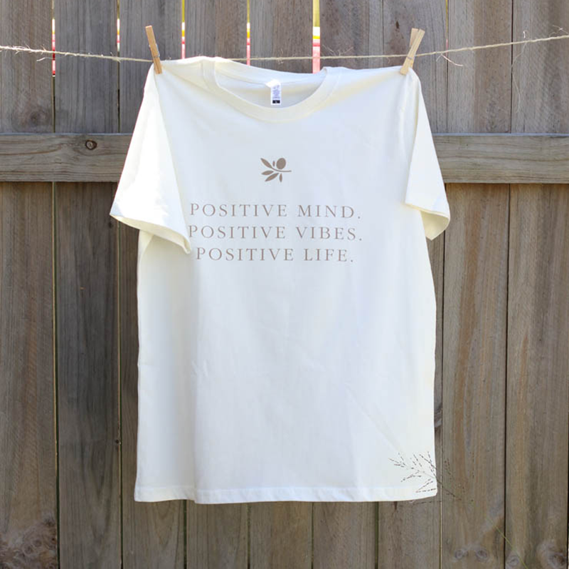 Mayella Living Organic Cotton Tee expressing your Positive Vibes