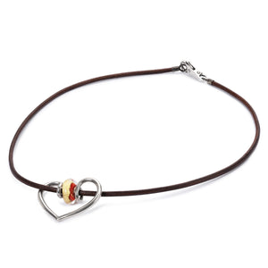Trollbeads Halskette Leder Braun mit Romanze Silber Bead und Ursprung Chakra Gold Rot | Leather Necklace Brown with Romance Pendant and Root Chakra Bead in Red and Gold