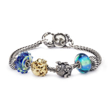 Trollbeads Armband Silber mit Glasbeads Silberbeads und Gold Bead mit Krabbenverschluss aus der Blue Ocean Sommerkollektion 2018 | Bracelet with Glass Silver and Gold Beads and Crab Lock form the Blue Ocean Summer Collection 2018