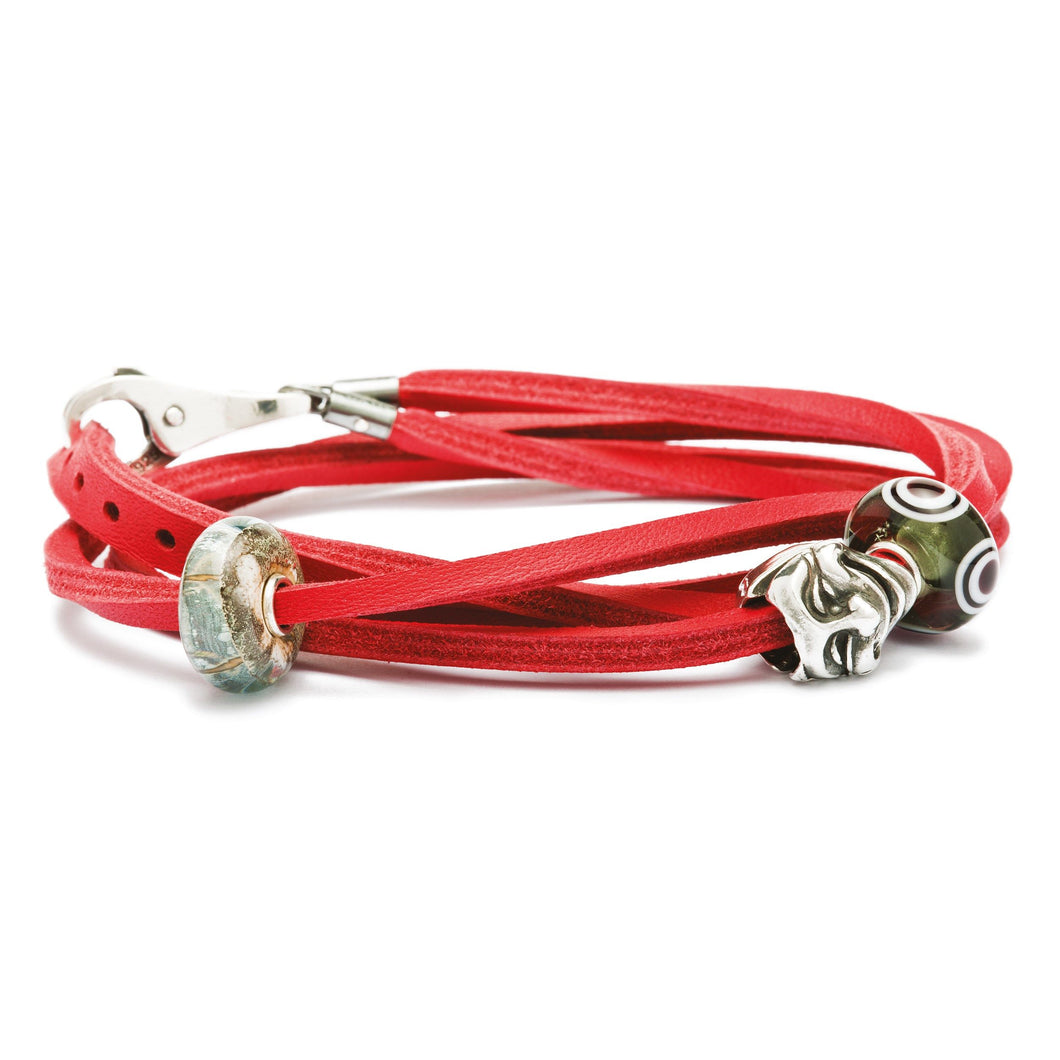 Trollbeads Lederarmband Rot | Leather Bracelet Red/Silver | Main Material: Leather  Designer: Nicolas Aagaard