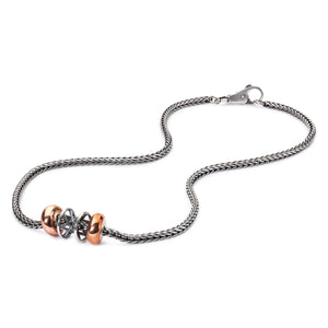 Trollbeads Halskette Silber mit Silber Bead und Kupfer Spacer und Glatter Verschluss | Silver Necklace with Silver Bead and Copper Spacer and Plain Lock