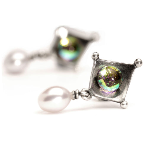 Zweifarbige Perle | Dichroic and Pearl Earrings