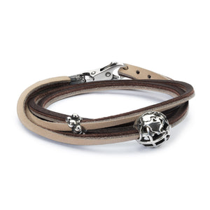 Lederarmband braun/hellgrau | Leather Bracelet Brown/Light Grey