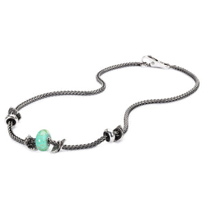 Trollbeads Halskette Silber mit Glas und Silber Beads und Spacer | Sterling Silver Necklace with Glass and Silver Beads and Spacer