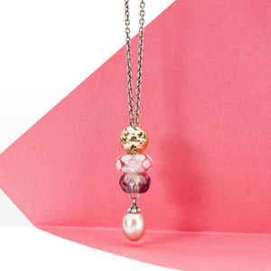 Trollbeads Fantasy Kette mit rosa Perle Glasbead Prisma Bead und Gold Bead | Pink Pearl Necklace with Glass Prism and Gold Beads