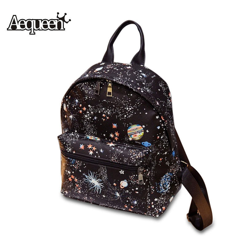 Star Universe Space Mini Backpack  Leather Ruck Teenager Bags