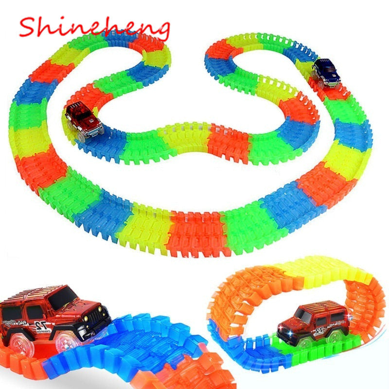 Glowing Car Race Track Set Flash in the Dark Toy Assembly
