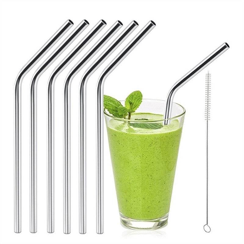 6pcs Stainless Steel Drinking Straws Reusable Eco Friendly Curved Straws with 1 Cleaners