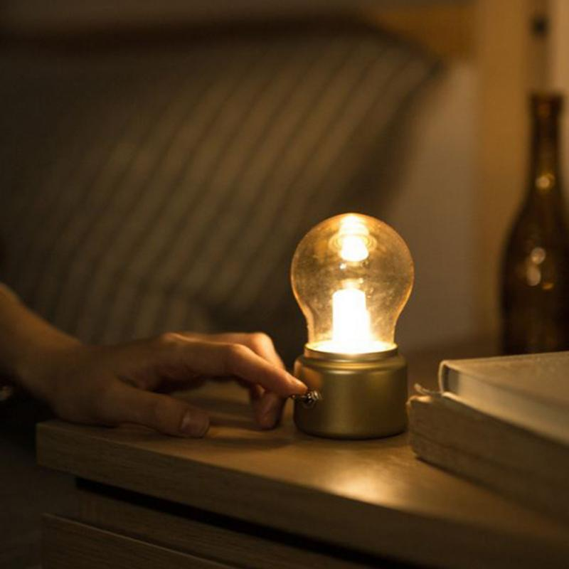 Creative USB Rechargeable Vintage Small Bulb Night with switch Home Decor