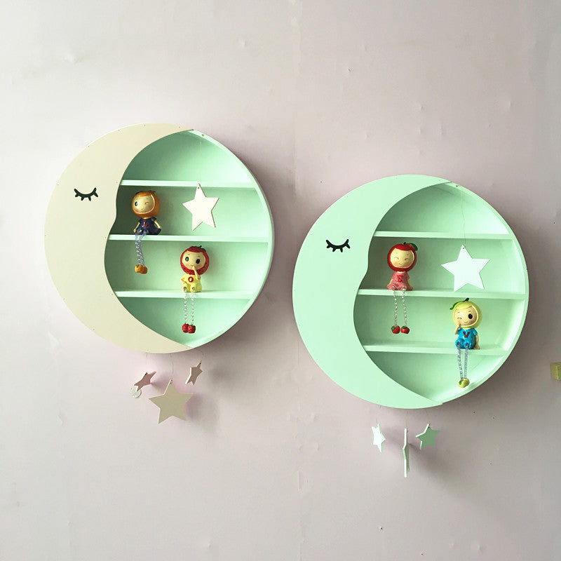 Cute Shelves for Teens and Children Room Decor Moon Storage Racks