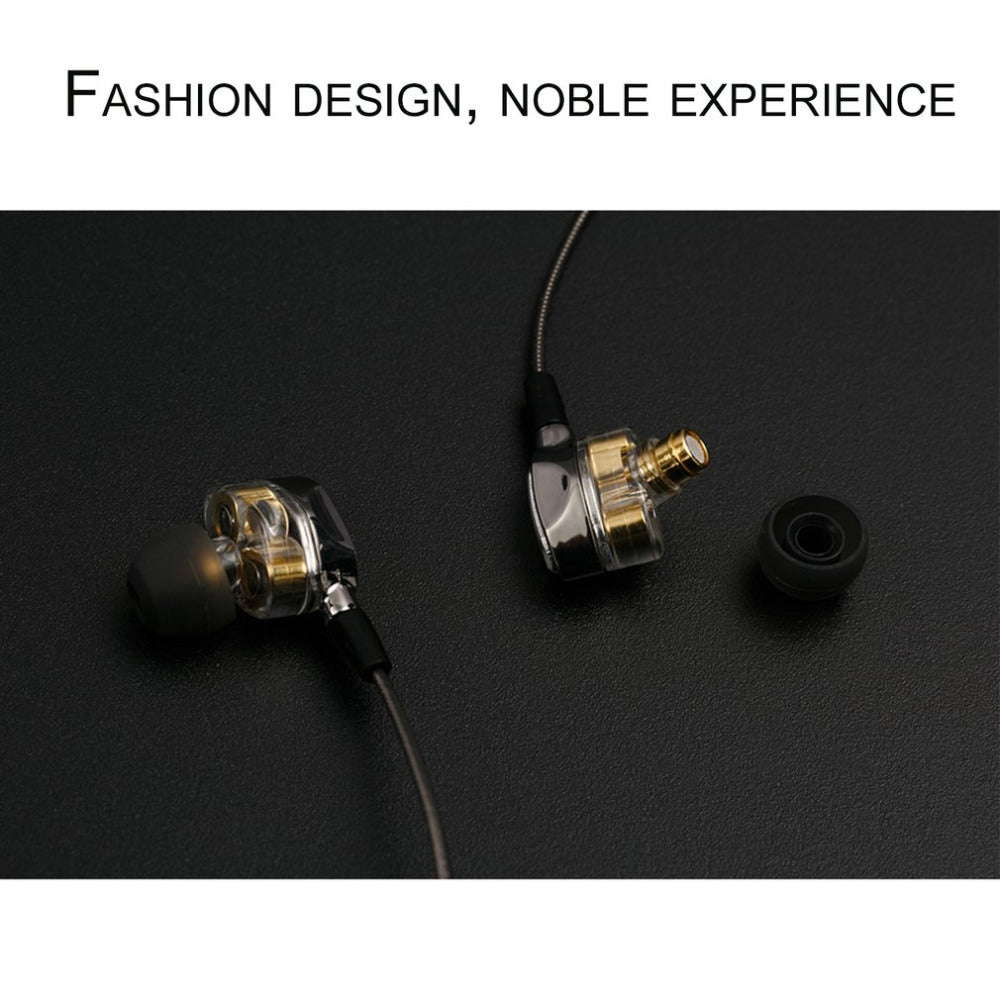 Professional HIFI  Noise Canceling Earphones Dual Dynamic Driver 4D Stereo Surround with Microphone