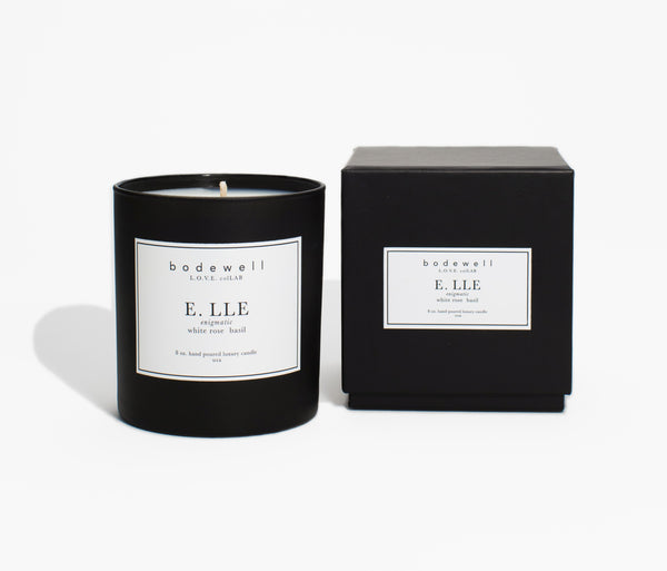 Elle Candle - white rose, basil - bodewellhome.com