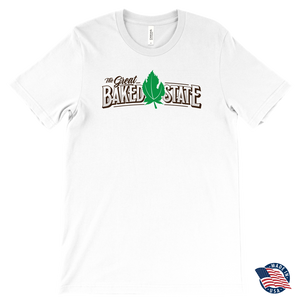 Great Baked State Tee With Color Logo and Green Leaf