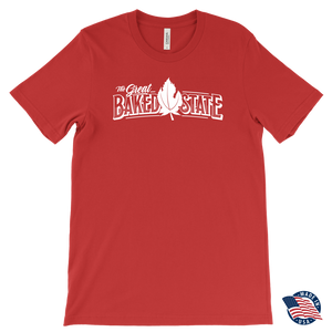 Great Baked State Tee With White Logo and White Leaf