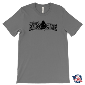 Great Baked State Tee With Black Logo and Black Leaf