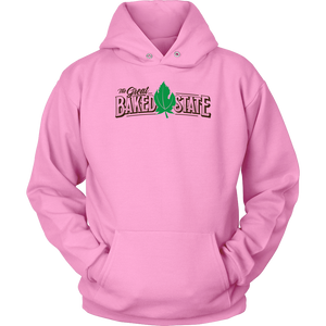 Great Baked State Color Logo with Green Leaf Hoodie