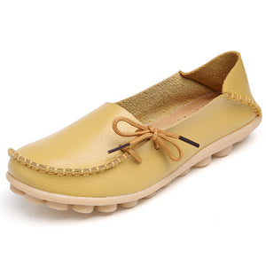 Plus Size 35-44 Genuine Leather Women Shoes 2017 Spring  Fashion Soft Lace-up Casual Flat Shoes Peas Non-Slip Outdoor Shoes
