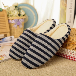 KESMALL Striped Soft Bottom Home Slippers Cotton Warm Shoes Women Indoor Floor Slippers Non-slips Shoes For Bedroom House WS313
