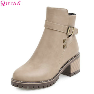 QUTAA 2018 Women Ankle Boots Zipper Design Fashion Square High Heel Round Toe All Match Ladies Motorcycle Boots Size 34-43
