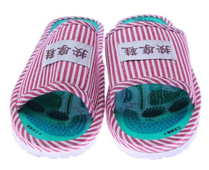 COOLSA Women's Taichi Acupuncture Magnet Massage Slippers Red Stripe Slippers Women's Massage Flip Flops Slippers Wholesale