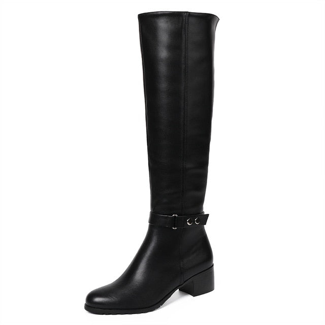 AIMEIGAO knee High Winter Fur Boots Over The Knee Women Boots Soft Leather Zipper Women Boots Thigh High Winter Warm Shoes