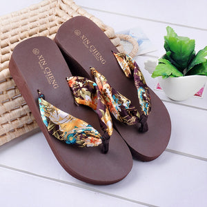 Women Slippers Casual New Bohemia Floral Beach Sandals Wedge Platform Thongs Slippers Flip Flops Flip Flop Female Shoes