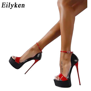 Eilyken Ladies Pumps Summer Women Sandals Sexy Pumps 16cm Women Heels Party Shoes Strappy Heels Red White Wedding shoes size 46