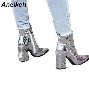 Aneikeh Women's Autumn Boots PU Leather Pointed Toe Square Heel Rubber Boots Fashion High Heel Women Shoes Silver Size 35-40
