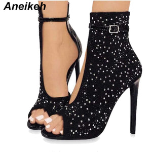 Aneikeh Crystal Women Pumps High Heels Brand Design Sexy Gladiator High Heels Women Rhinestone Buckle Strap Party Shoes 41 42 43