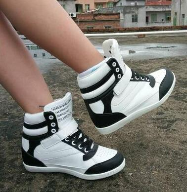 2018 Women Casual Shoes Espadrilles Platform Hidden Increasing Sneakers PU Leather Shoes Woman Breathable High Top White Shoes