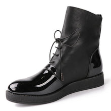 AIMEIGAO Fashion Spring Autumn Women Boots Patent PU Leather Platform Woman Shoes Plus Size Boots For Women Botas Mujer