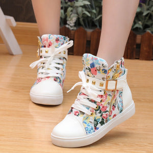 Canvas shoes 2018 women shoes fashion zipper wedge women sneakers high help solid color ladies shoes woman tenis feminino