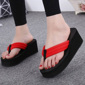 Lianhuaxiang Flip Flops Fashion Clip Toes Womens Wedge Sandals Summer Sandals Casual Beach Slippers Waterproof Platform Wedges
