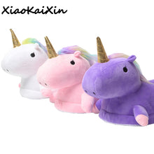 Parent-child style Unicorn Home Slippers for Women and Kids Winter Warm Soft PP Cotton House Shoes unicornio licorne Fit Cosplay