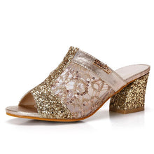 Women sandals 2018 Bling fashion square heel summer lace slippers women sexy Hollow sandals for women size 35-41