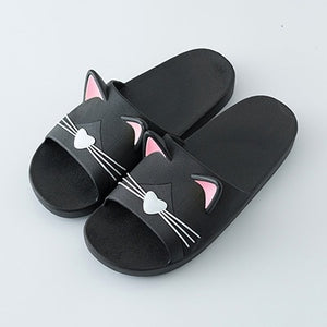 LCIZRONG 8 Colors Cartoon Cat Home Slippers Women 36-45 Size Cute Animal Slippers Unisex Non-slip Bathroom Slippers Mujer Summer
