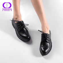 Retro Brogue Genuine PU Leather Woman Oxford Shoes British Style Vintage Cut-Outs Flat Shoes Casual Oxford Shoes for Women